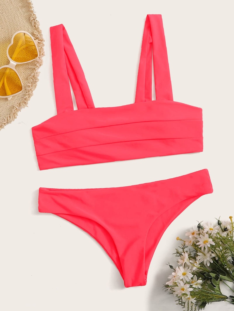 Seam Detail Top With Panty Bikini Set - Bomberish