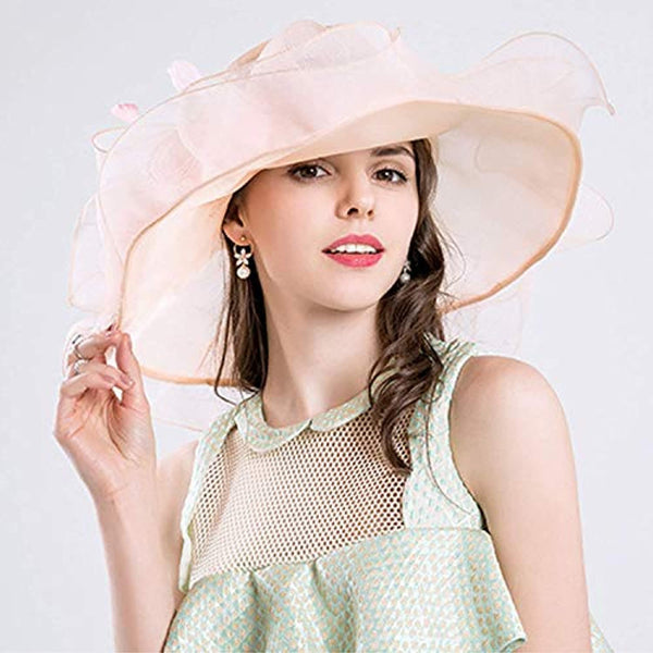Women Foldable Organza Church Derby Hat Ruffles Wide Brim Summer Bridal Cap - Bomberish