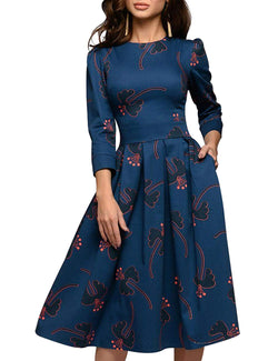 Women's Floral Evening Flare Vintage Midi Dress 3/4 Sleeve - Bomberish