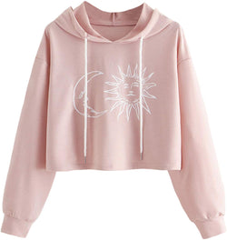 Women's Letter Print Long Sleeve Crop Top Sweatshirt Hoodies - Bomberish