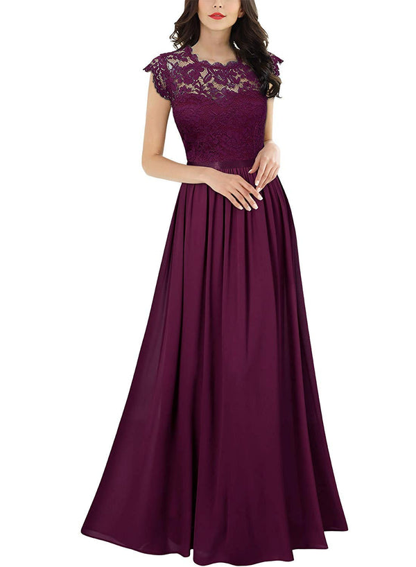 Women's Formal Floral Lace Evening Party Maxi Dress - Bomberish