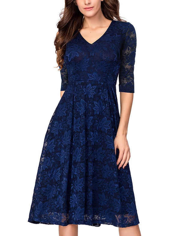Women's 3/4 Sleeves Lace Fit & Flare Midi Cocktail Dress for Women Party Wedding - Bomberish