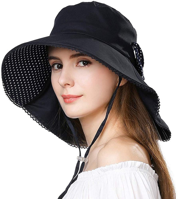 UV Protection Sun  Packable Summer Hat Women w/Ponytail Chin Strap - Bomberish