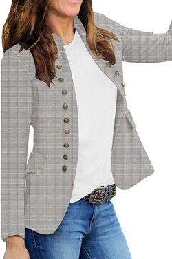 Women's Open Front Long Sleeves Work Blazer Casual Buttons - Bomberish