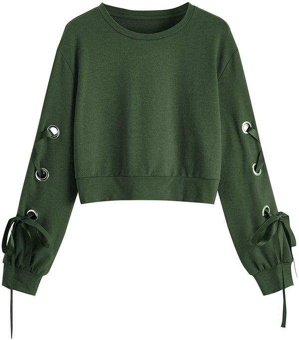 Women's Casual Lace Up Long Sleeve Pullover Crop Top Sweatshirt - Bomberish