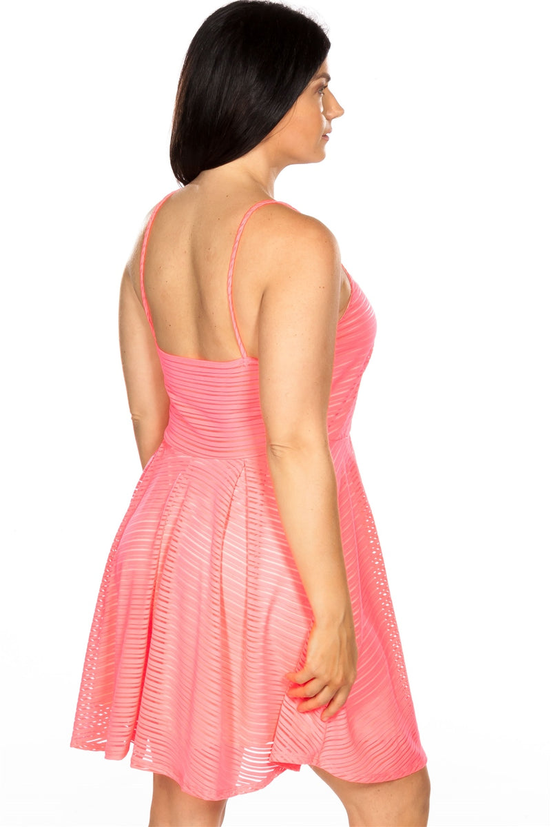 Ladies fashion plus size spaghetti strap pink nude illusion striped midi dress - Bomberish
