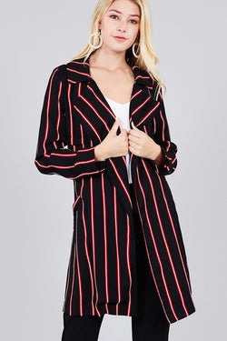 Ladies fashion long sleeve notched collar w/waist belt multi striped long woven jacket - Bomberish