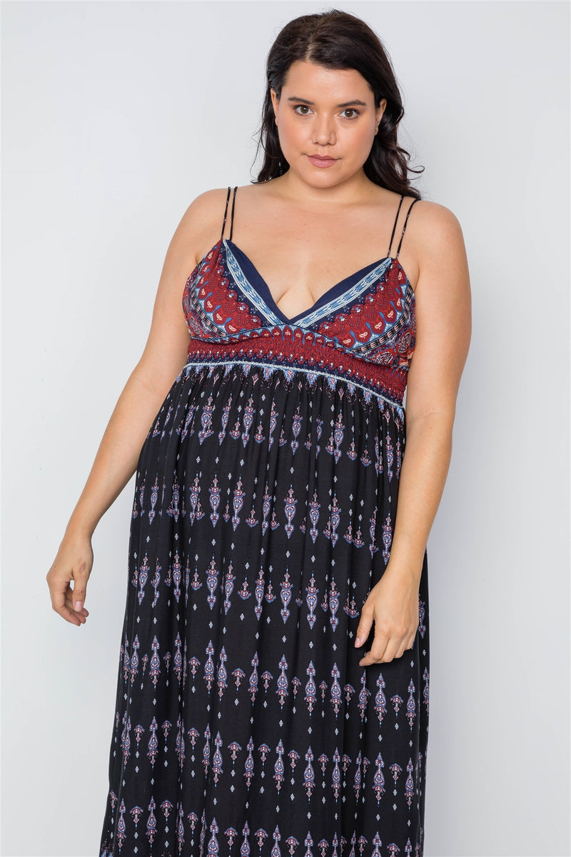Plus Size Multi Black Paisley Print Maxi Boho Dress - Bomberish