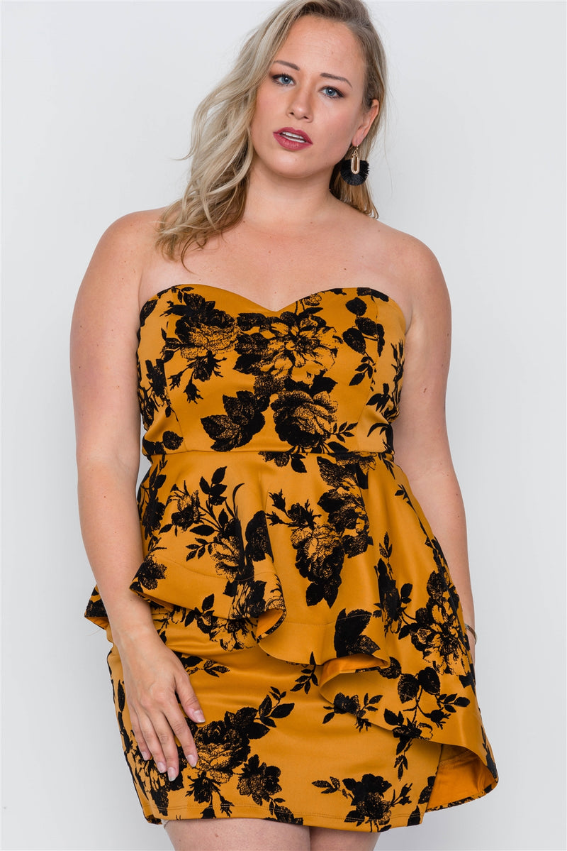 Plus Size Strapless Floral Sweetheart Mini Dress - Bomberish
