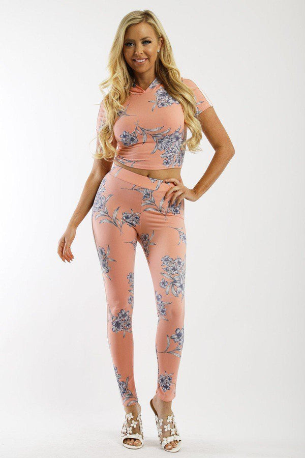 Floral Print And Striped Side  High Waist Full Leggings - Bomberish