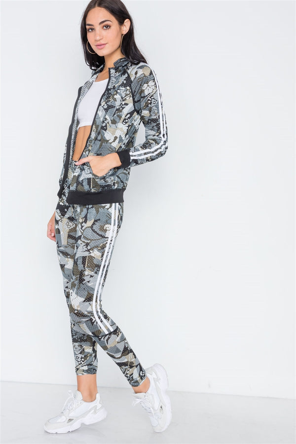 Grey Olive Mesh Active Two Piece Legging Jacket Set - Bomberish