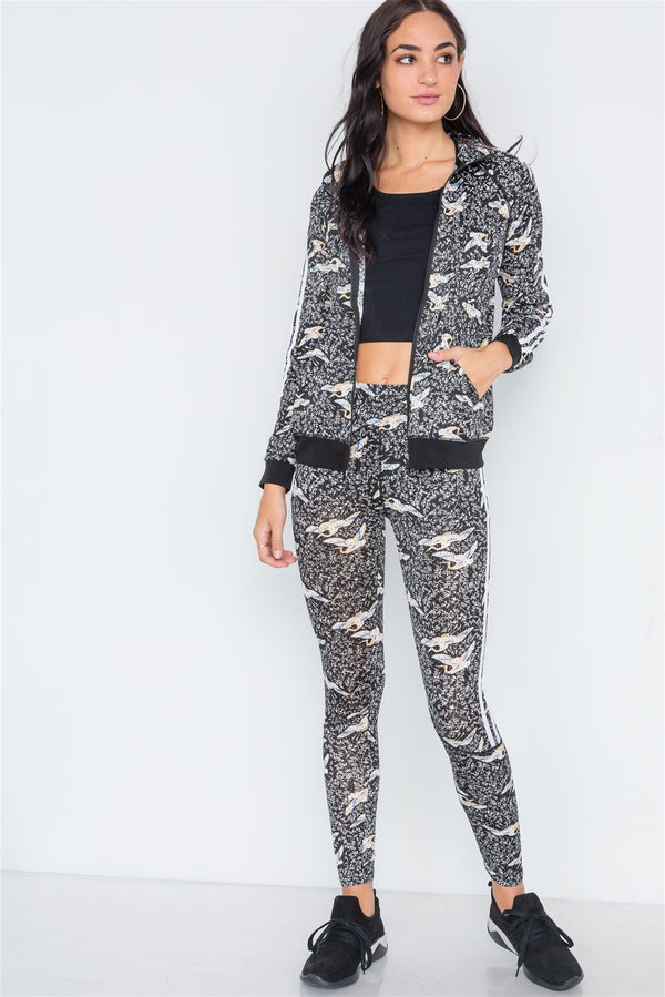 Grey Black Mesh Active Two Piece Legging Jacket Set - Bomberish