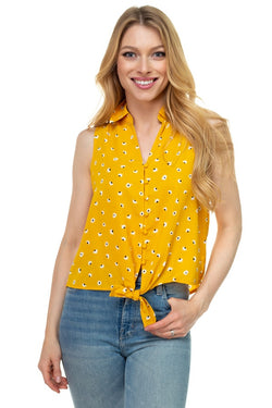 Floral Ditsy Knotted Sleeveless Top - Bomberish
