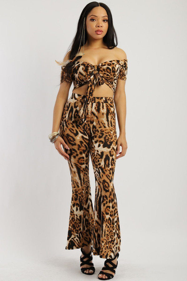 Animal Print, Two-piece Knit Set - Bomberish