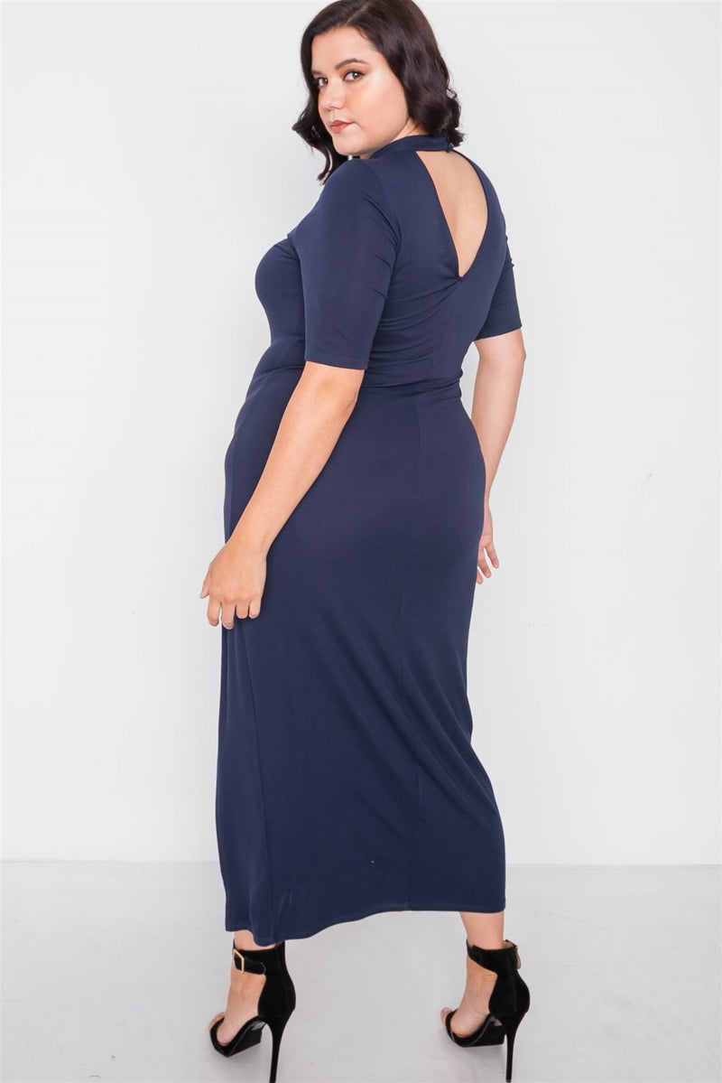 Plus Size Site Slit Mock Neck Maxi Dress - Bomberish