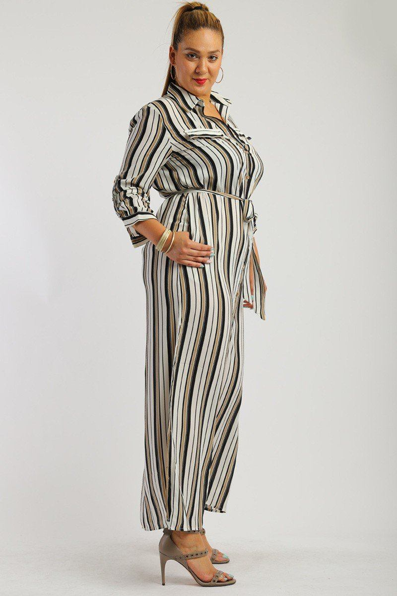 Stripe, Full Length Button Down Shirt Dress - Bomberish