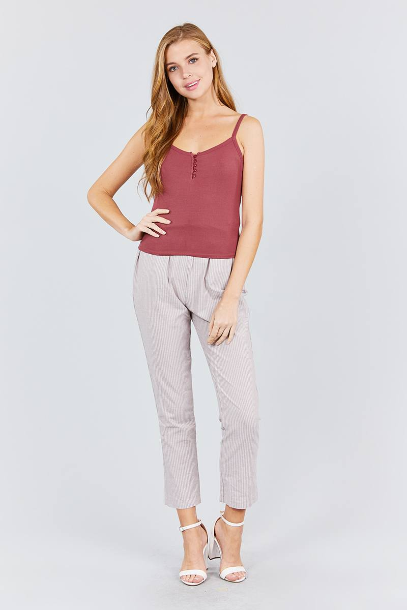 Front Button Down Detail Rayon Spandex Rib Cami Knit Top - Bomberish