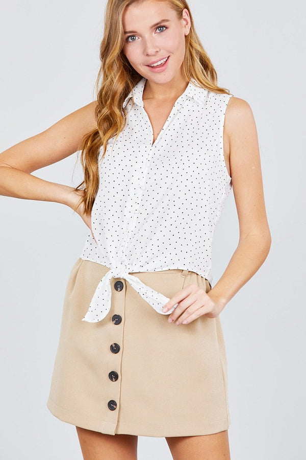 High Waist Smocking Detail Button Down Mini Skirt - Bomberish