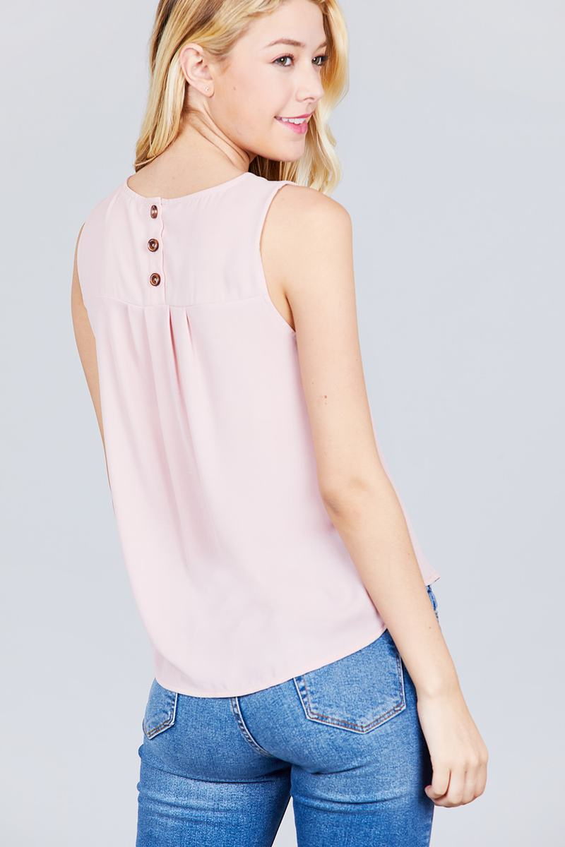Sleeveless Round Neck Back Button Detail Woven Top - Bomberish