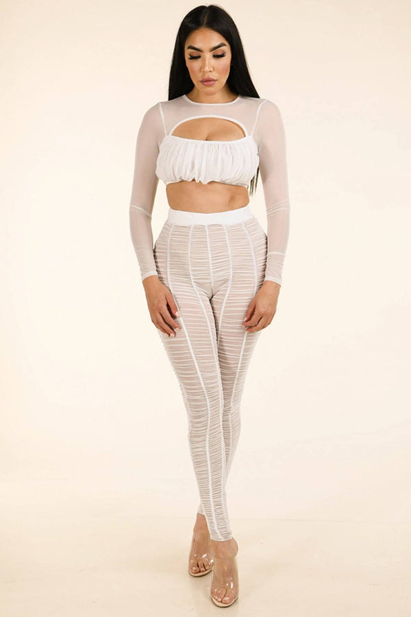 Shirred Mesh Top & Ruched Mesh Leggings Set - Bomberish