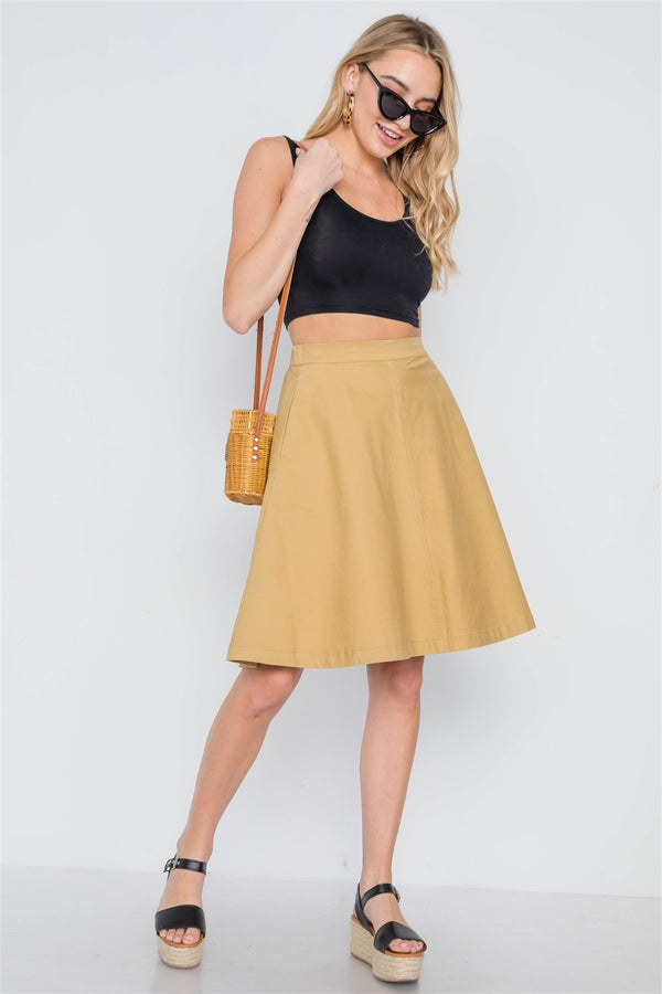 Khaki High Waist Solid A-line Midi Skirt - Bomberish