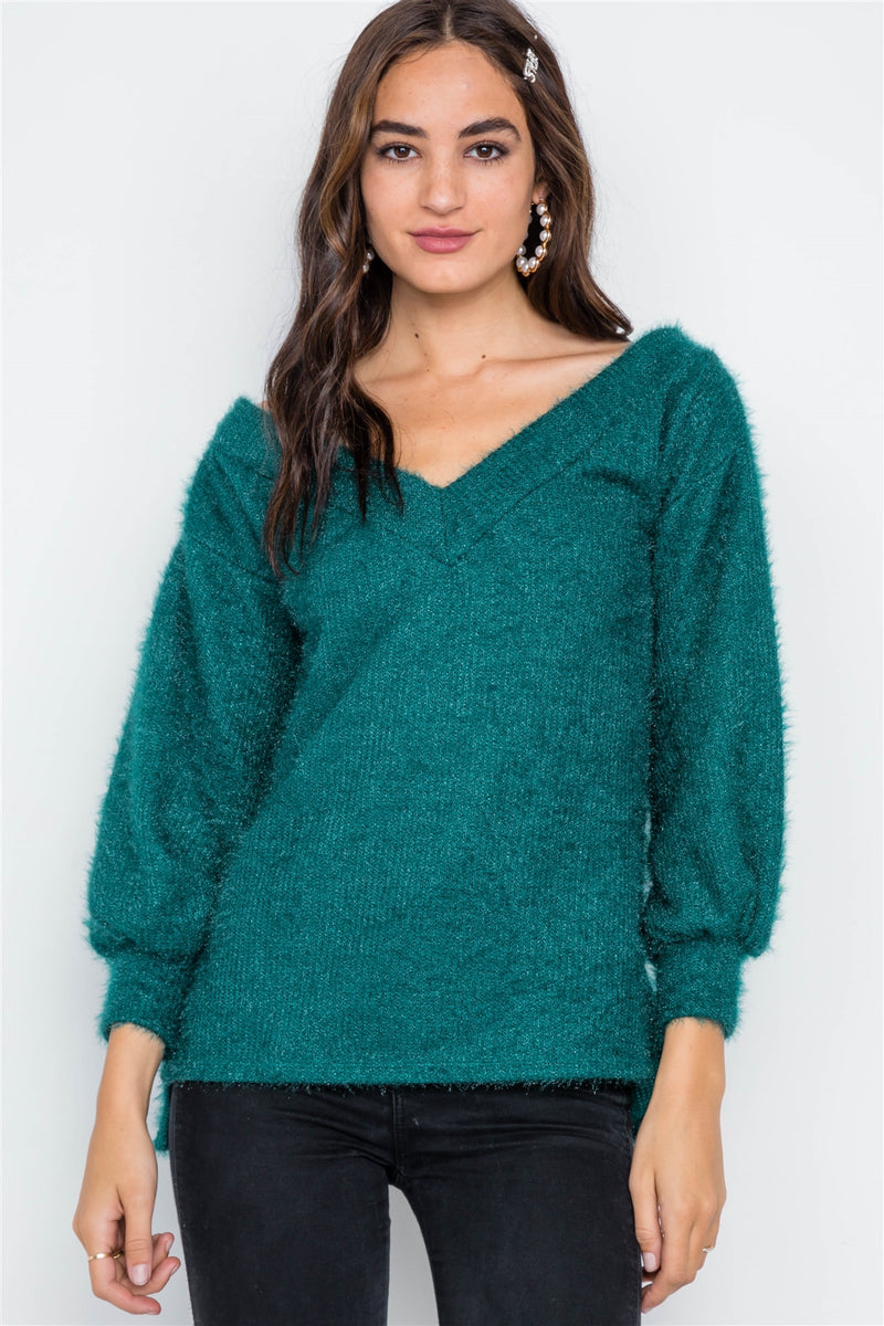 Teal Fuzzy Long Sleeve V-neck Sweater - Bomberish