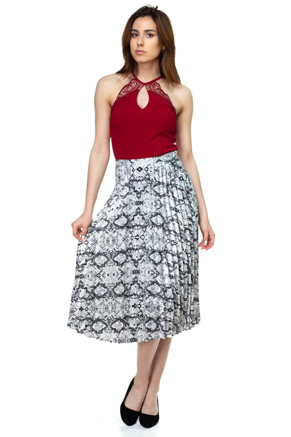 Pleated Snake Print Skirt - Bomberish