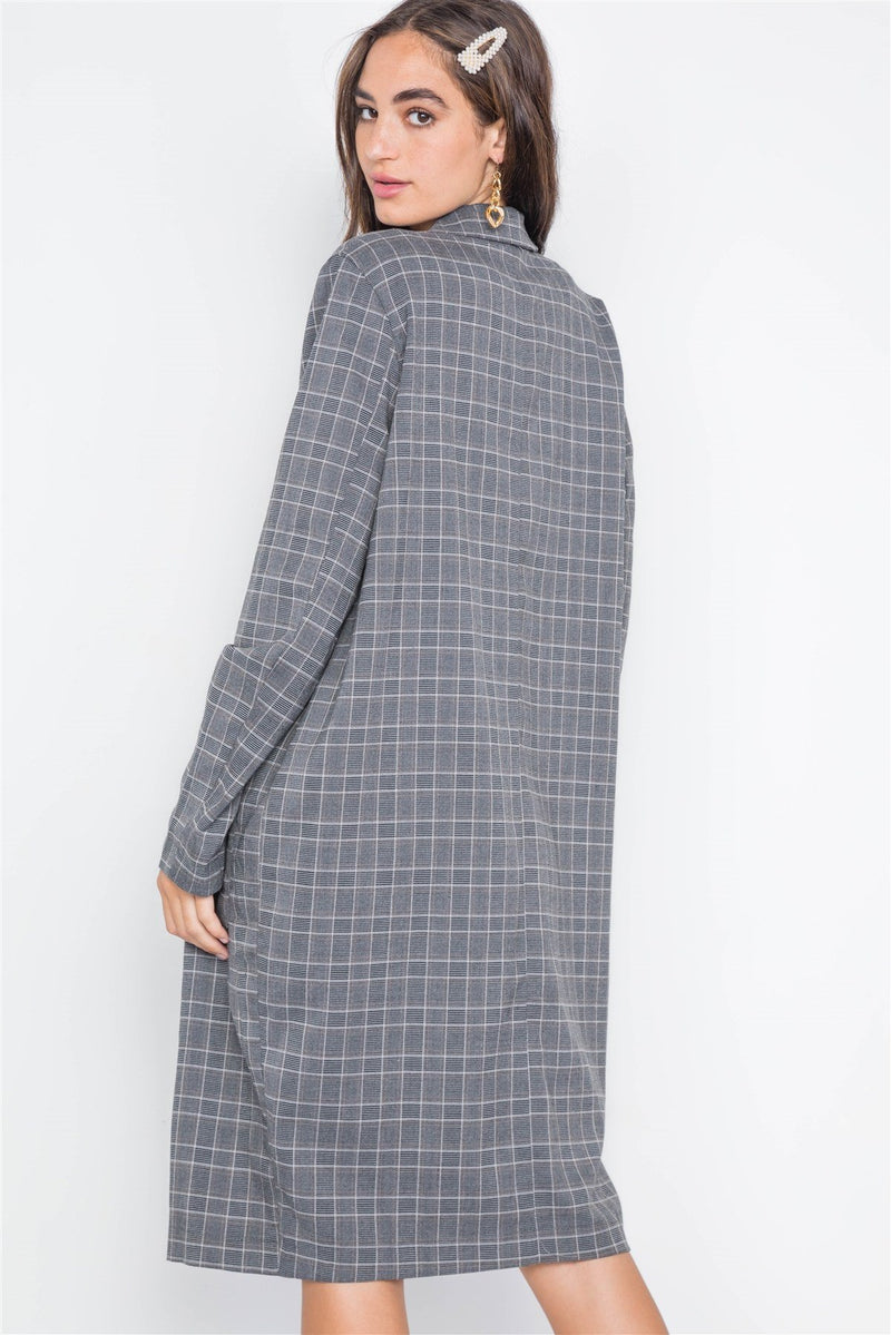 Plaid Single Button Long Sleeve Blazer - Bomberish