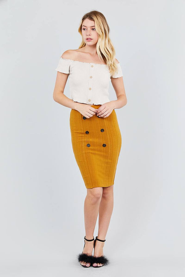 Button Detail Rib Midi Skirt - Bomberish