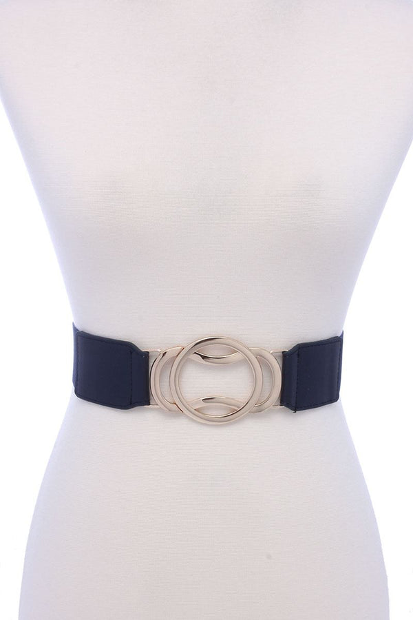 Circle Metal Buckle Pu Leather Elastic Belt - Bomberish