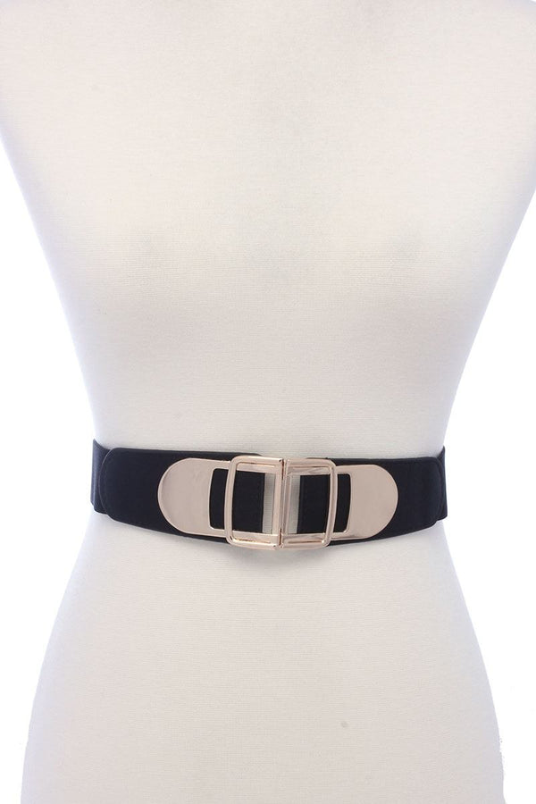 Metal Buckle Pu Leather Elastic Belt - Bomberish