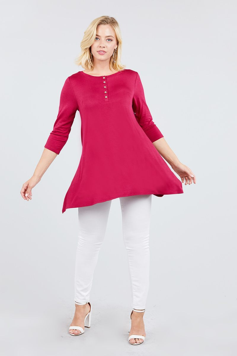Sleeve Button Placket Rayon Spandex Top - Bomberish