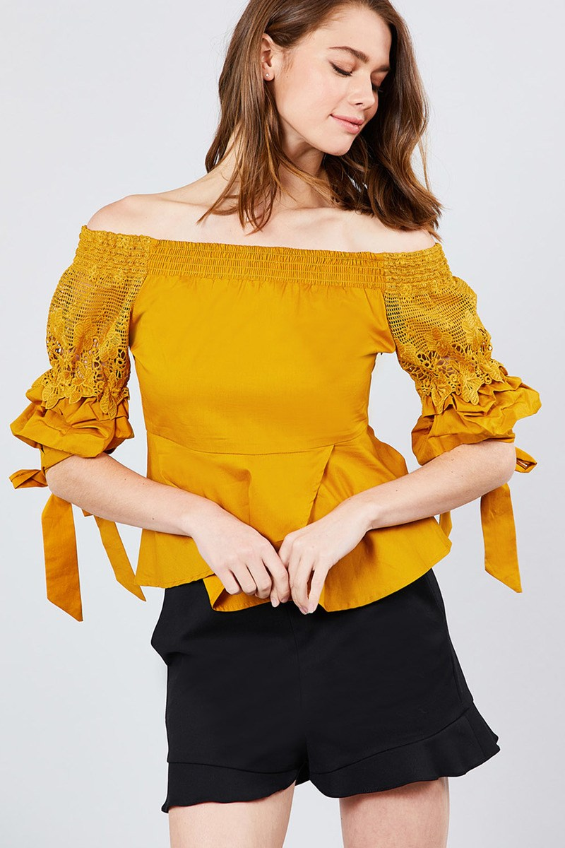 Bubble Sleeve W/bow Tie Off The Shoulder W/crochet Lace Cotton Woven Top - Bomberish
