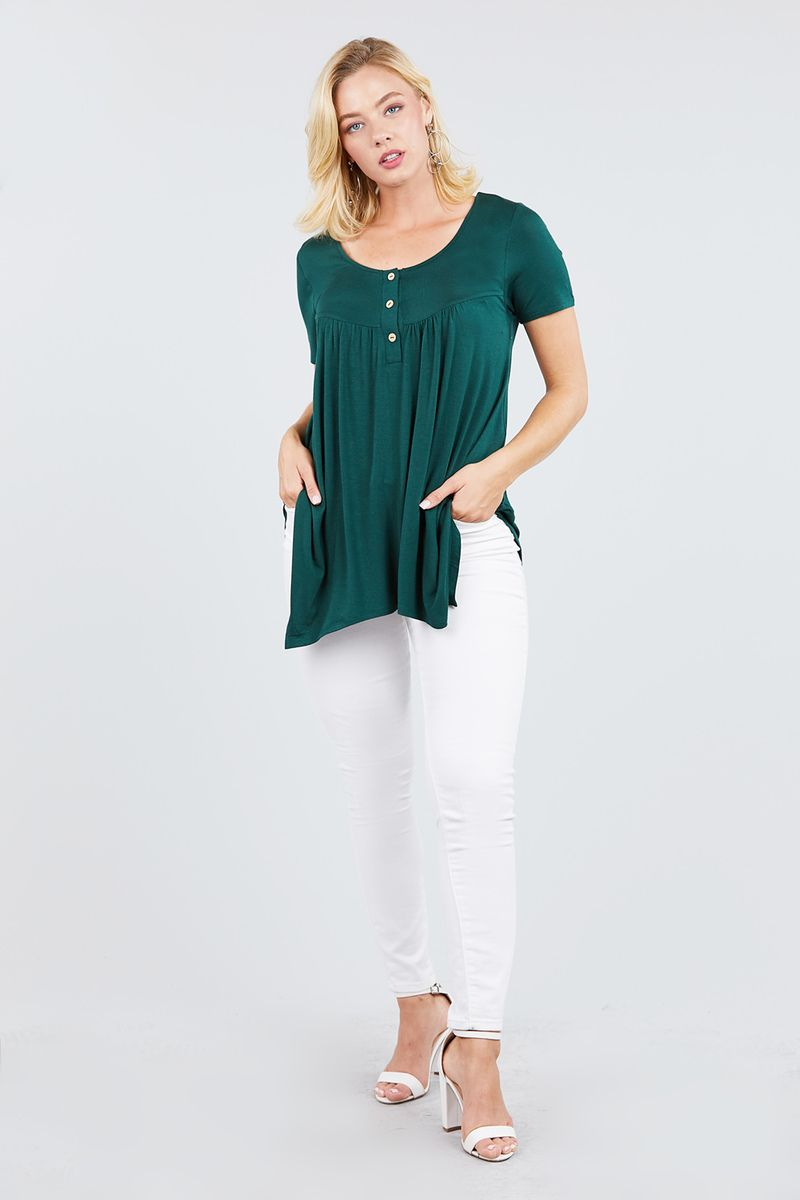 Short Sleeve Scoop Neck W/button Shirring Detail Rayon Spandex Top - Bomberish