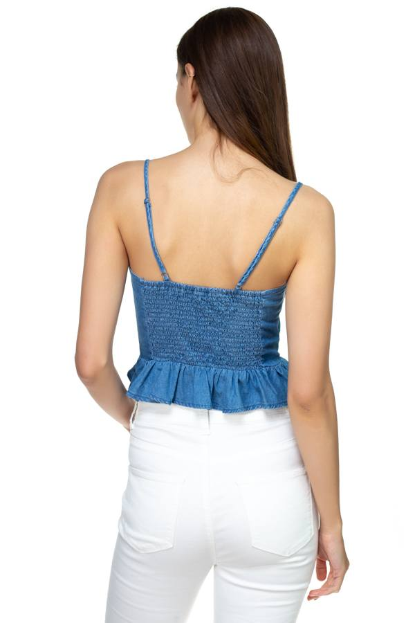 Denim Button Down Ruffle Crop Top - Bomberish