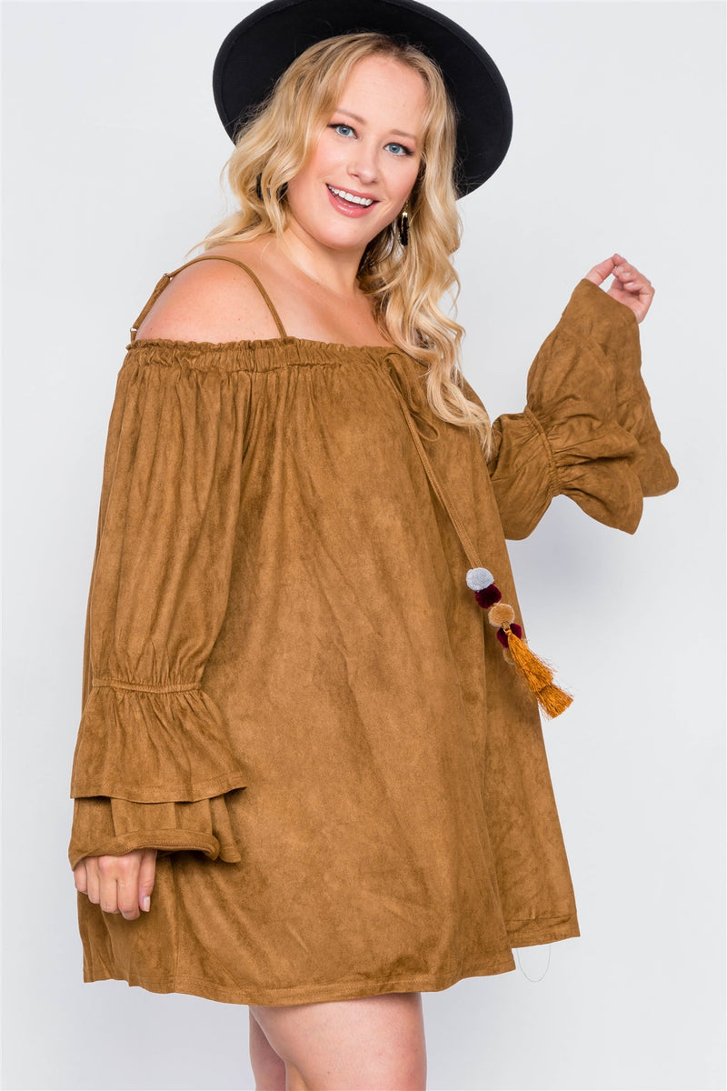 Plus Size Faux Suede Mini Dress - Bomberish
