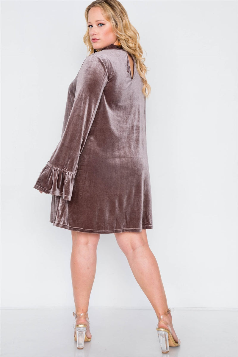 Plus Size Velvet Long Sleeve Mini Dress - Bomberish