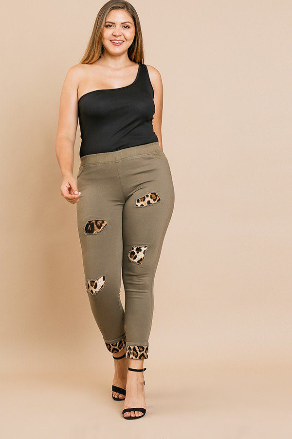 Skinny Pants With Animal Print Patches And Rolled Cuff Hem - Bomberish