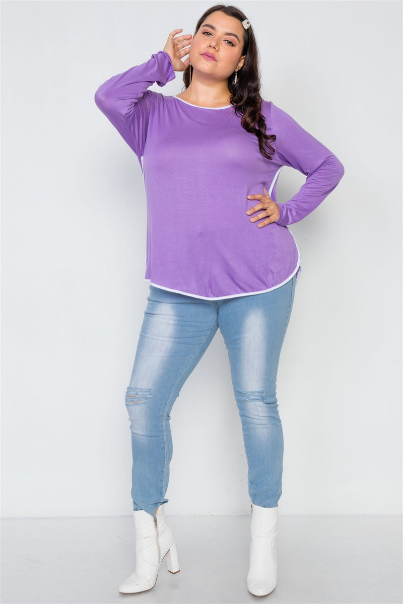 Plus Size Knit Long Sleeve Contrast Trim Top - Bomberish