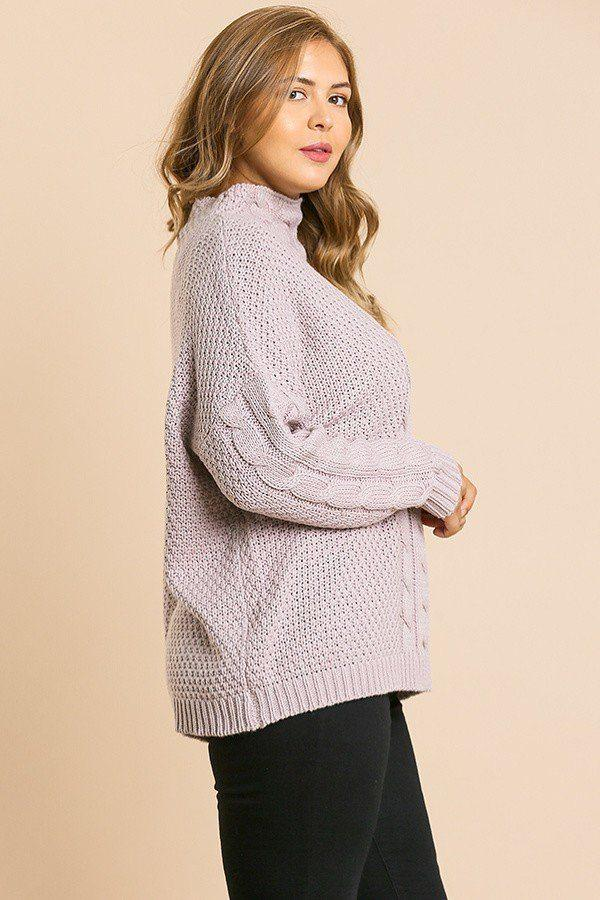 Long Sleeve Cable Knit Mock Neck Pullover Sweater - Bomberish