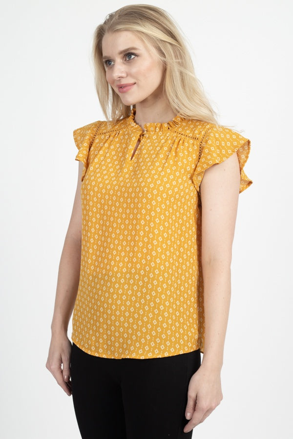 Geo Print Front Key Hole Top - Bomberish