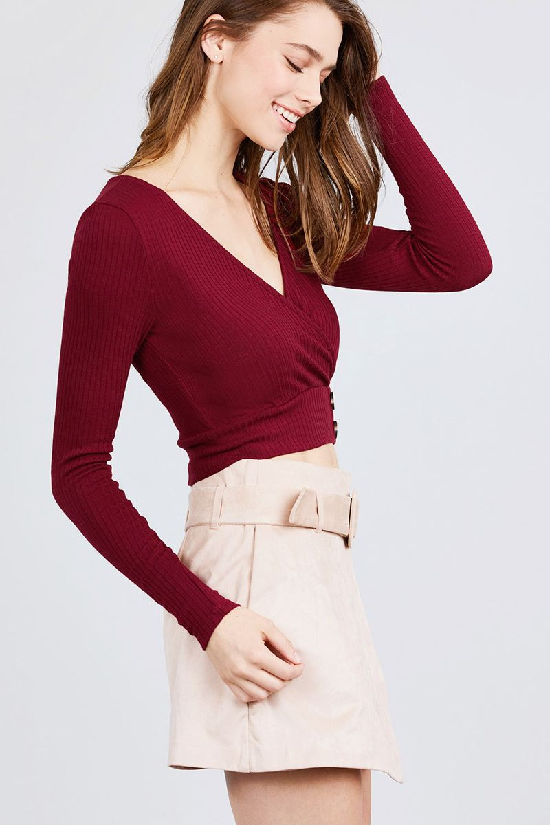 Long Sleeve Surplice Neck Line Button Detail Rib Knit Top - Bomberish