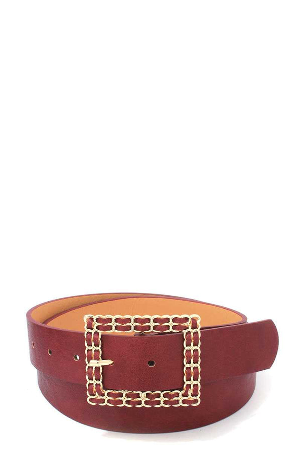 Square Shape Metal Buckle Pu Leather Belt - Bomberish