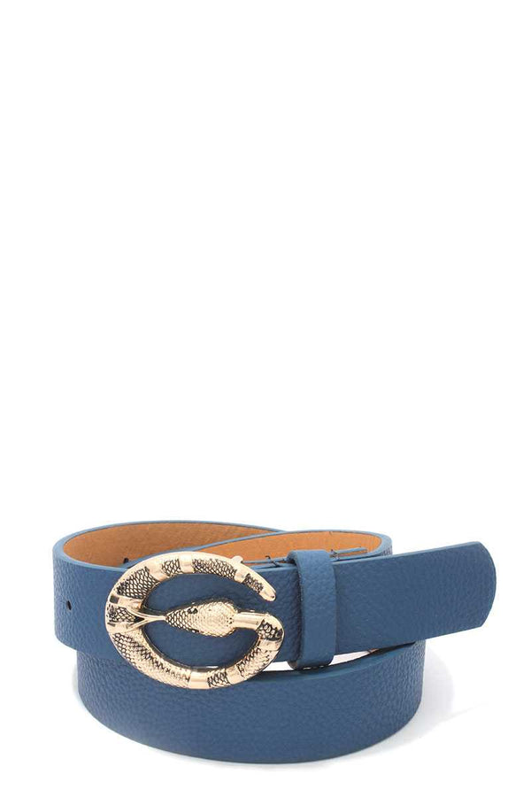 Snake Buckle Pu Leather Belt - Bomberish