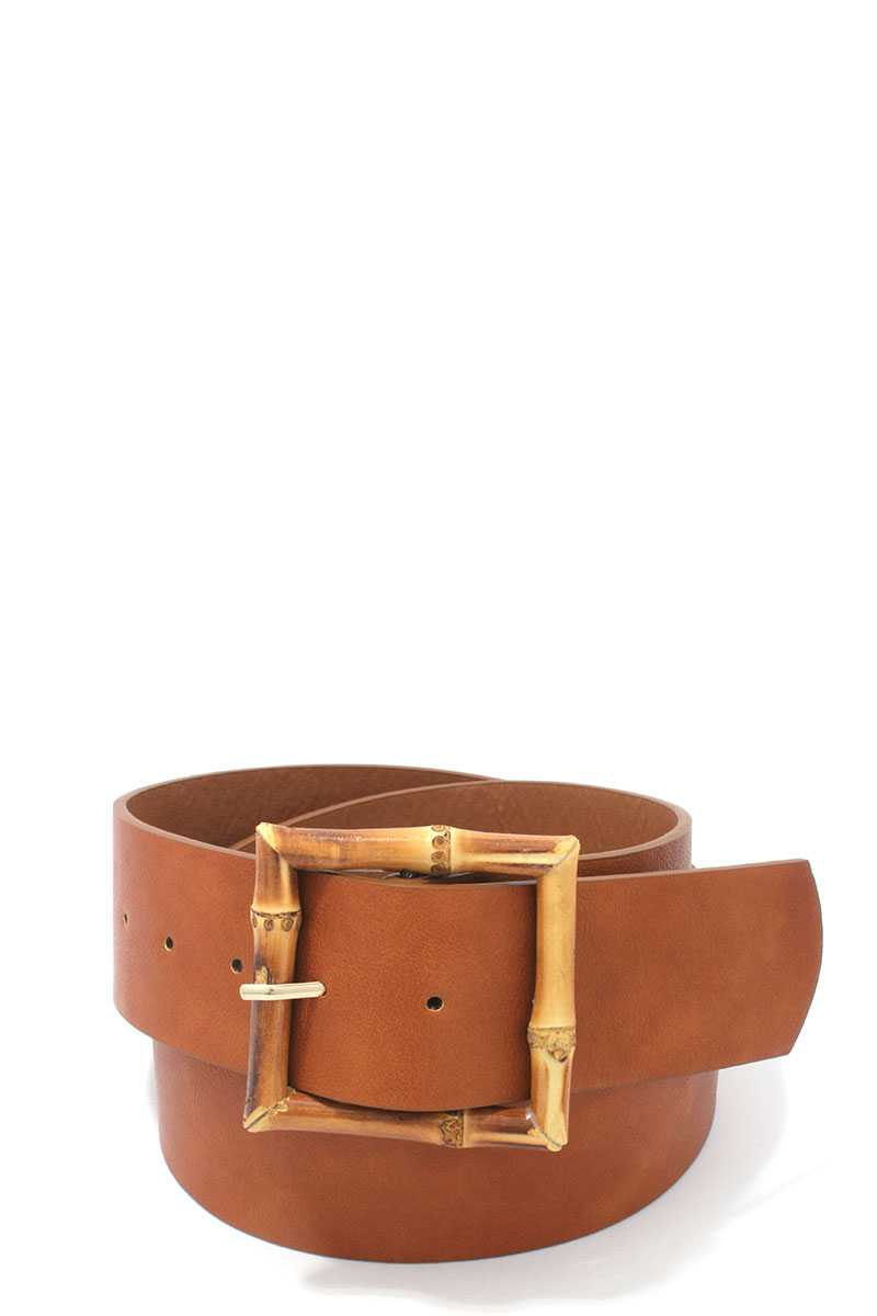 Bamboo Buckle Pu Leather Belt - Bomberish
