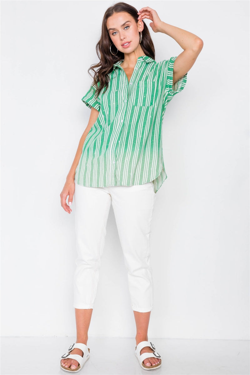 Washed Pinstripe Button Down Top - Bomberish