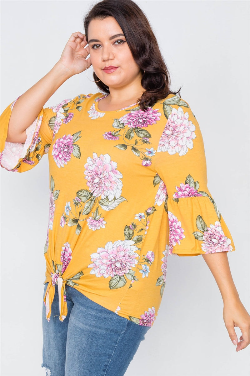 Plus Size Floral Print Front Knot High-low Top - Bomberish