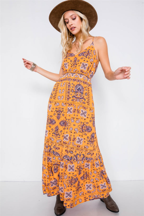 Mustard Boho Print V-neck Cami Straps Maxi Dress - Bomberish