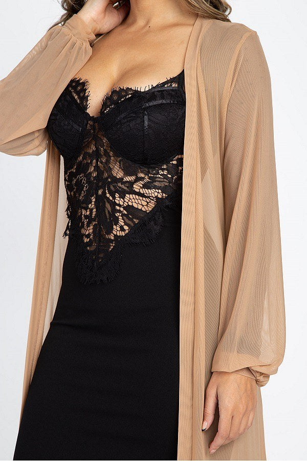 Sheer Mesh Open Front Cardigan - Bomberish