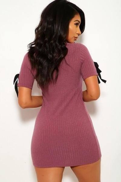 Solid, Wide Rib Knit, Scoop Neckline, Short Sleeves Dress - Bomberish